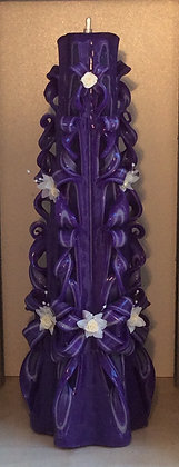 Purple Hand Carved Wedding Candles