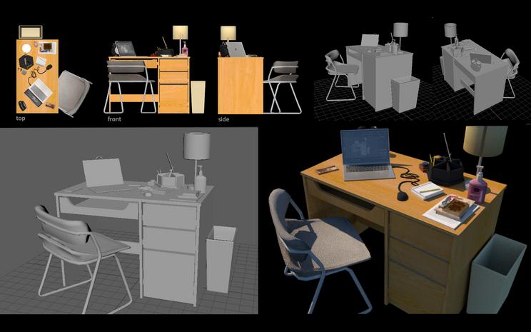 Desk, modeled in Maya