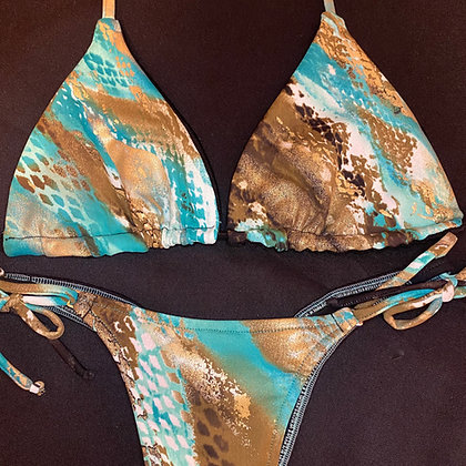 Aqua and Brown Animal Print Bikini