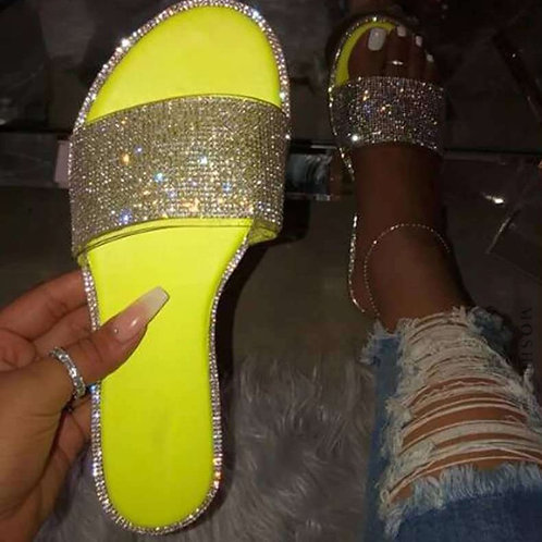 Summer Women Sandals Bling Crystal Slides