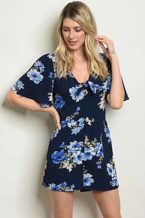 Womens Navy Floral Romper