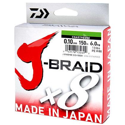 DAIWA J-BRAID X8 150M. Chartreuse