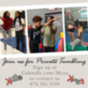 Now registering for private tumbling! Mo
