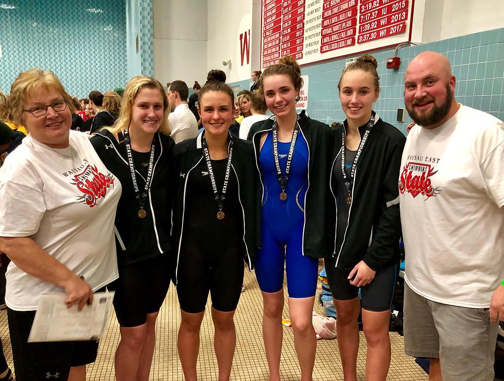 The girls' swim team at state.