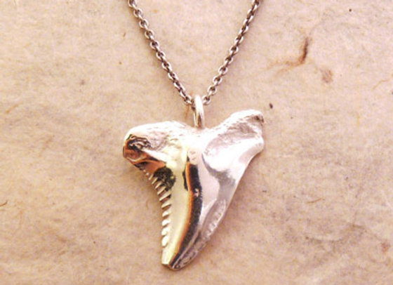 Silver Snaggletooth Shark Necklace