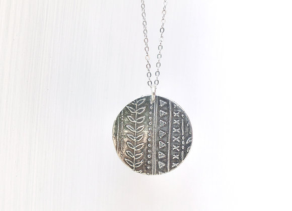 Silver Geometric Circle Necklace #1