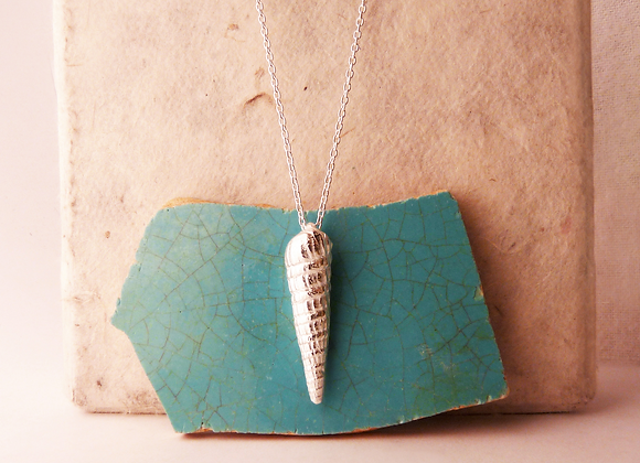 Silver Auger Shell Necklace