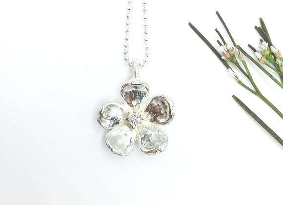 Silver Cherry Blossom Necklace with Cubic Zirconia