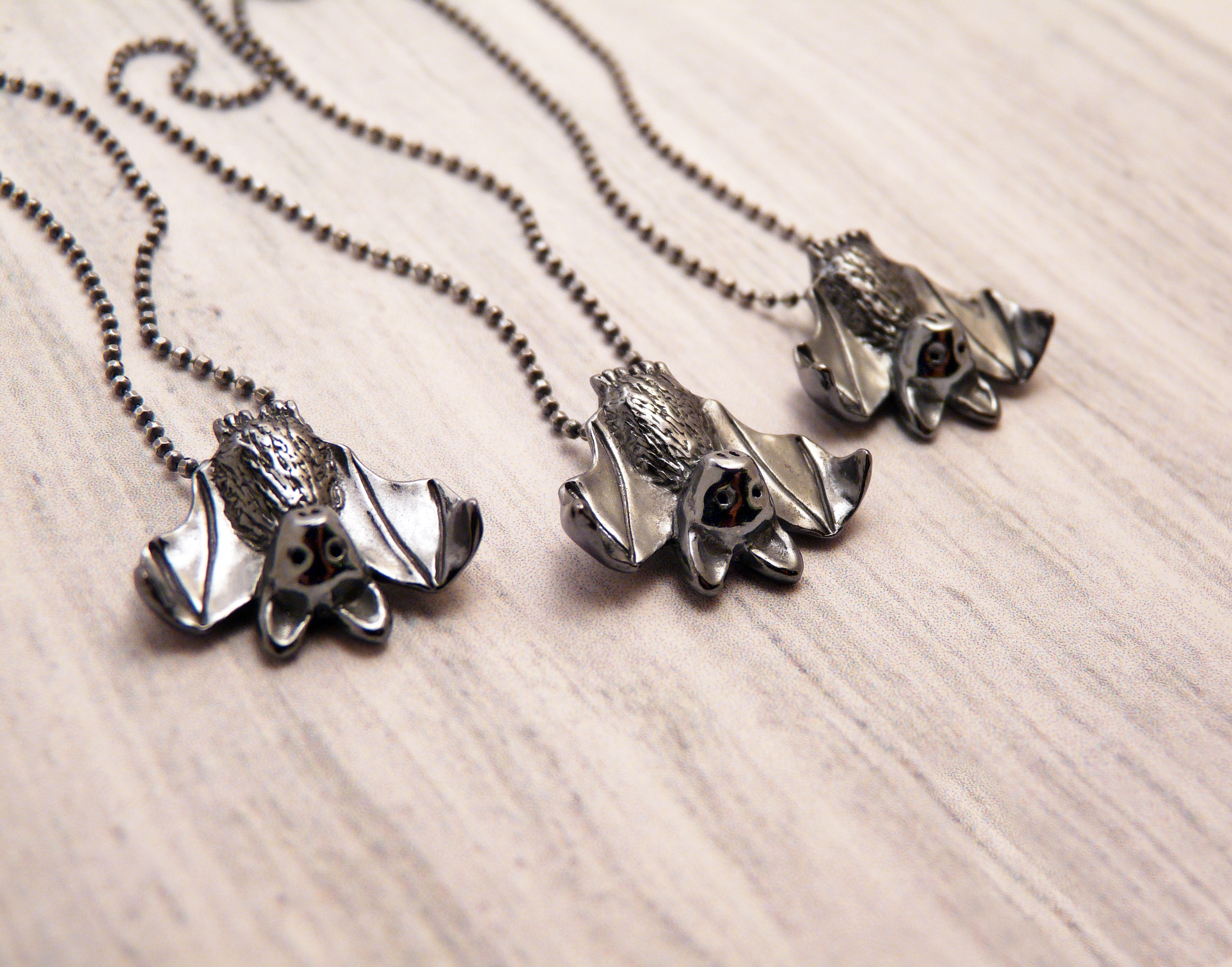 Silver Bat Necklace by Blue Dot Jewelry
