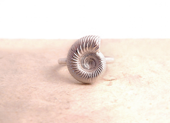 Silver Ammonite Fossil Ring