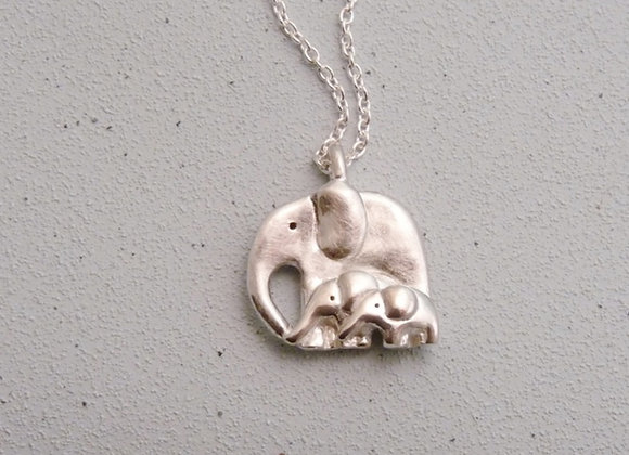 Silver Elephant and Two Babies Necklace