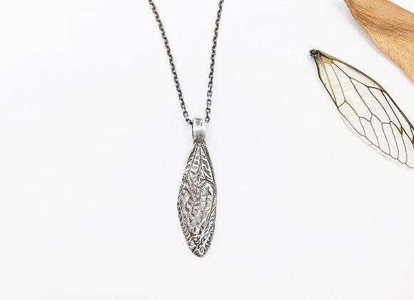 Silver Cicada Wing Necklace, Small