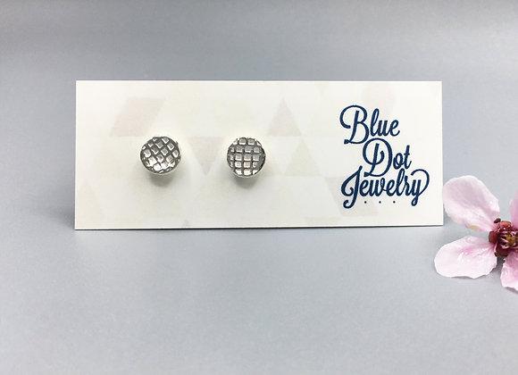 Tiny Silver Lattice Post Earrings