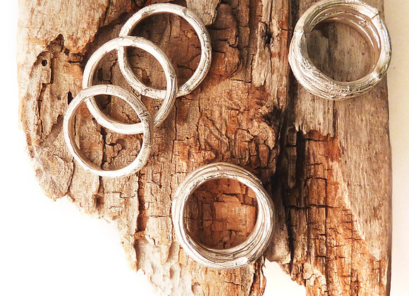 Silver Twig Stacking Rings