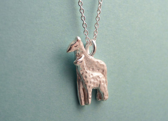 Silver Giraffe and Baby Necklace