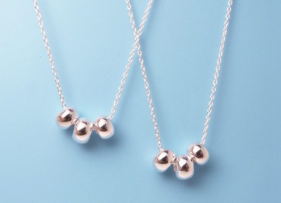 Silver Three Bead Necklace