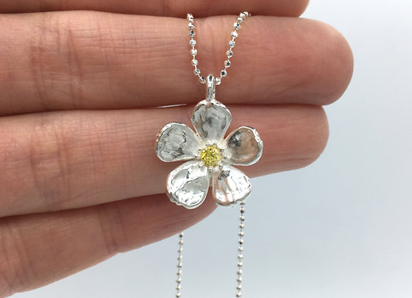 Silver Cherry Blossom Necklace with Yellow Cubic Zirconia