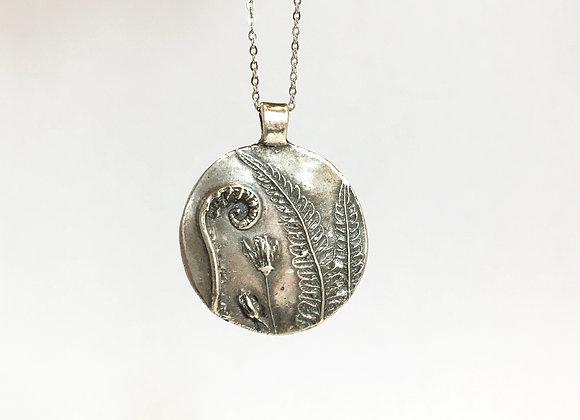 Silver Fiddlehead Fern Necklace #1