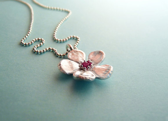 Silver Cherry Blossom Necklace