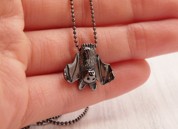 Silver Bat Necklace - Shiny or Patinaed