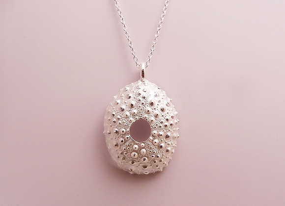 Silver Pink Urchin Necklace