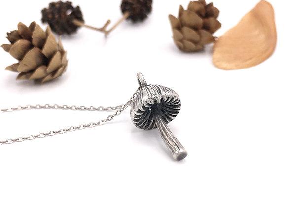 Tiny Silver Mushroom Necklace