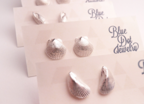 Silver Scallop Shell Post Earrings