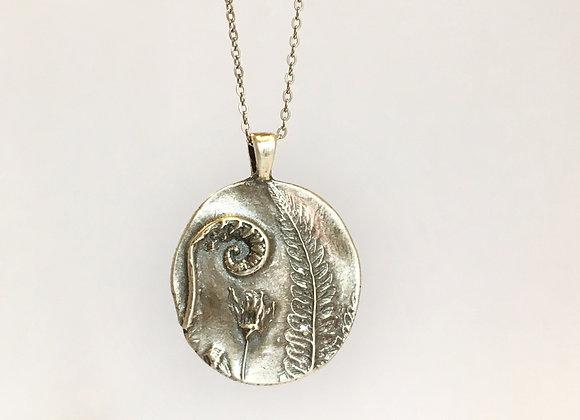 Silver Fiddlehead Fern Necklace #2