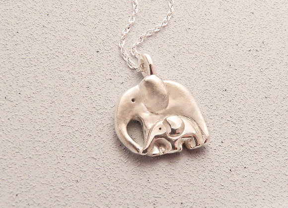 Silver Elephant and Baby Necklace