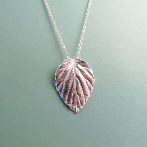 Silver mulberry leaf necklace blue dot jewelry nature inspired this pure silver leaf pendant made from a real leaf measures approximately 1 tall with an 18 sterling silver chain aloadofball Image collections
