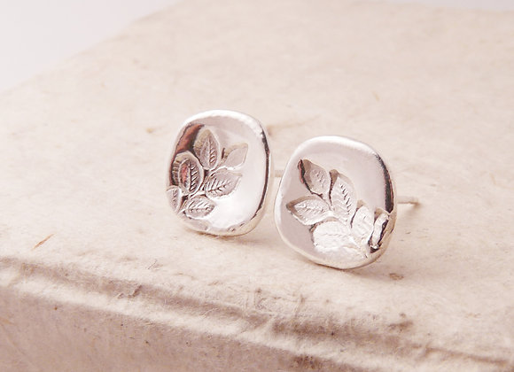Silver Sprig of Leaves Post Earrings