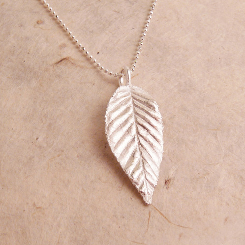 Silver long leaf necklace blue dot jewelry nature inspired jewelry this pure silver leaf pendant measures 1 tall with an 18 sterling silver chain aloadofball Image collections