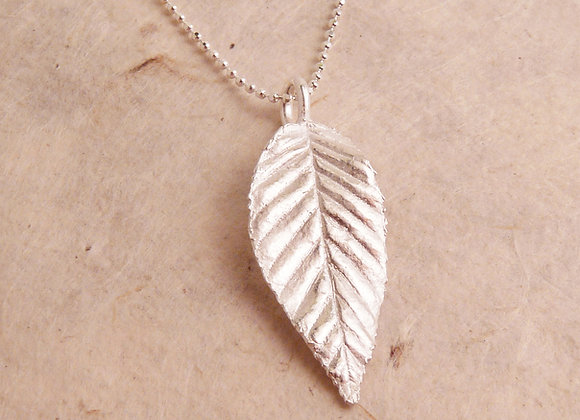 Silver Long Leaf Necklace