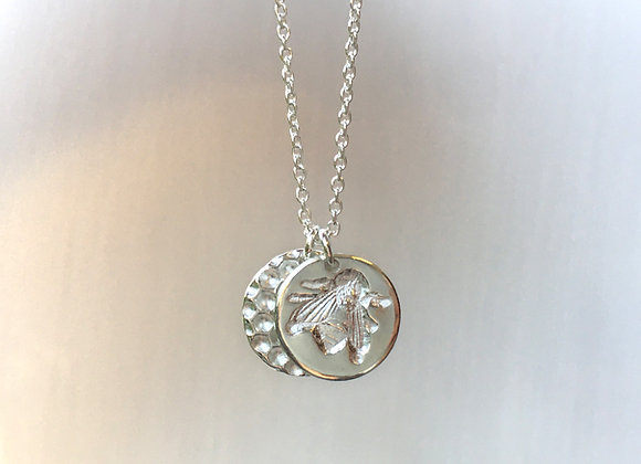 Silver Bee and Hive Necklace