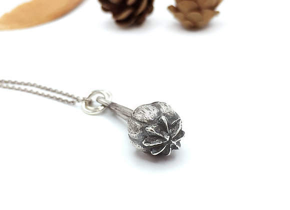 Silver Poppy Heart Necklace