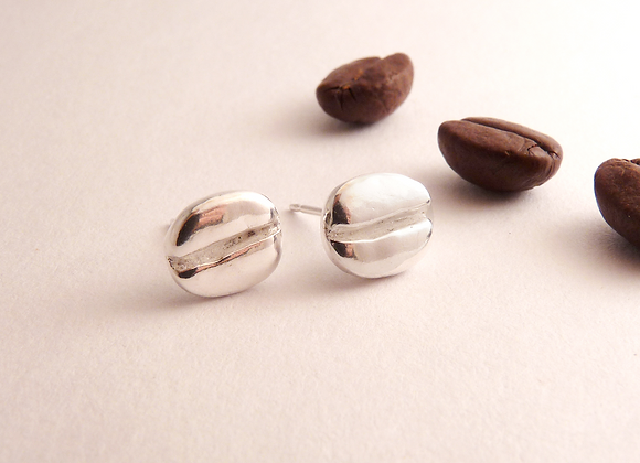 Silver Coffee Bean Post Earrings