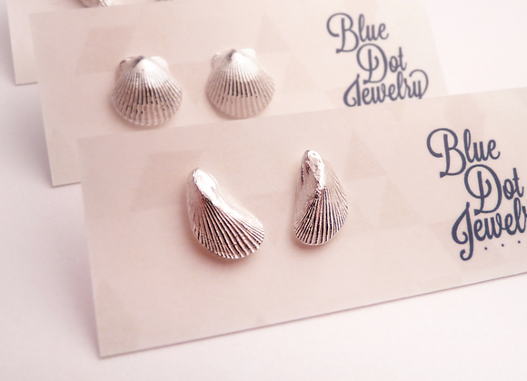 Silver Mussel Shell Post Earrings