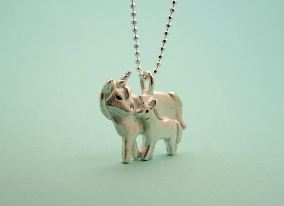 Silver Unicorn and Baby Necklace