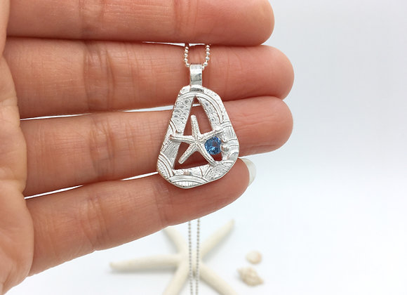 Silver Starfish Necklace with Cubic Zirconia