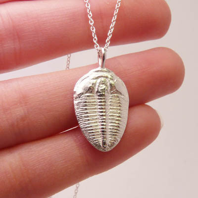 Silver trilobite fossil necklace blue dot jewelry nature the pendant measures 1 tall with an 18 sterling silver chain it is made from a 250 million year old trilobite fossil trilobites are a group of extinct mozeypictures Image collections