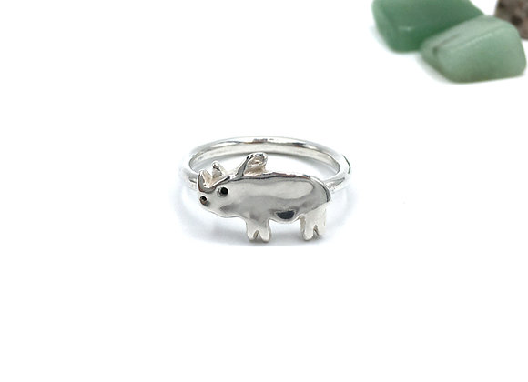 Silver Rhino Ring, Size 8