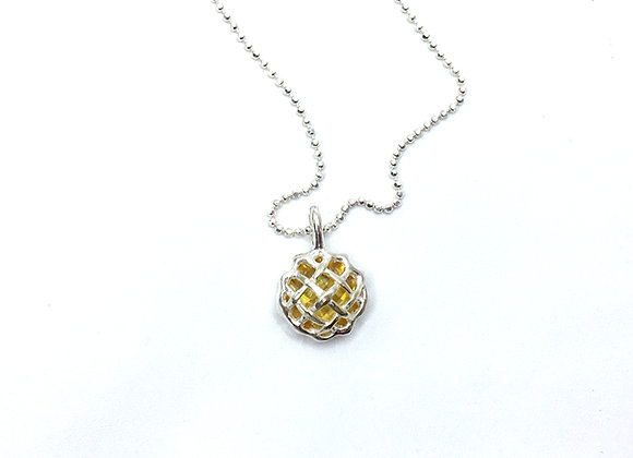 Silver and Cubic Zirconia Apple Pie Necklace