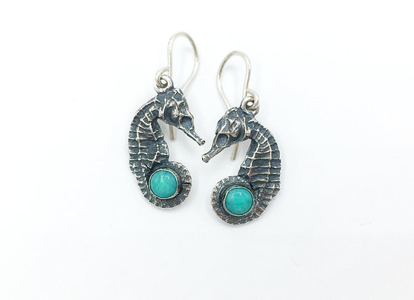 Seconds - Silver Amazonite Seahorse Earrings