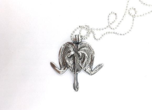 Silver Bleeding Heart Necklace