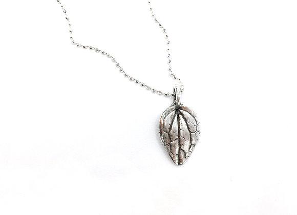 Tiny Silver Basil Necklace
