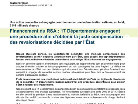 Financement du RSA : 17 départements demandent compensation à l'État