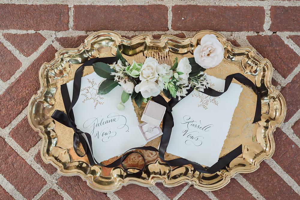 Flat lay wedding detail props