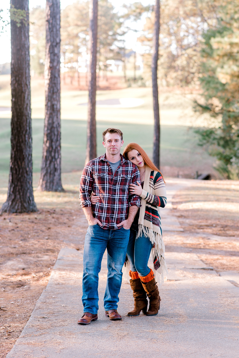 Fine Art engagement photographer serving Columbia, Charleston, Greenville, Charlotte, NC Augusta, Ga, Nashville, TN surrounding areas and worldwide destination weddings and elopements. Fall photos with Nina Bashaw at Cobblestone Golf Club