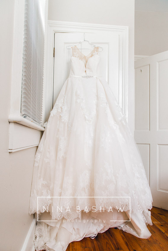 Lace princess style wedding gown