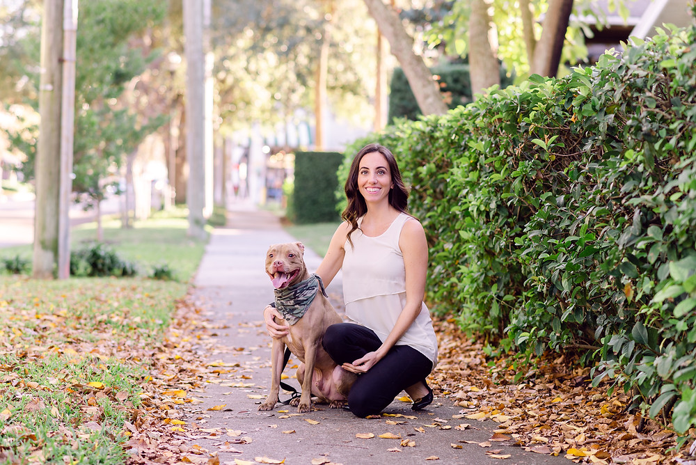 Natural light headshots of Furry Ventures pet care in Hyde Park Village in Tampa, Florida